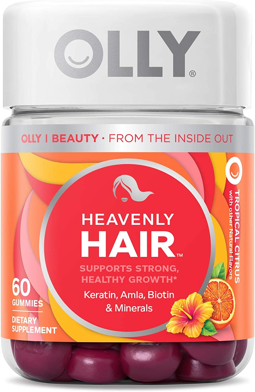 Olly Heavenly Hair Gummies, Supports Strong Healthy Hair Growth, Keratin, Biotin, Amla, Grapefruit Flavor, 30 Day Supply - 60 Count…