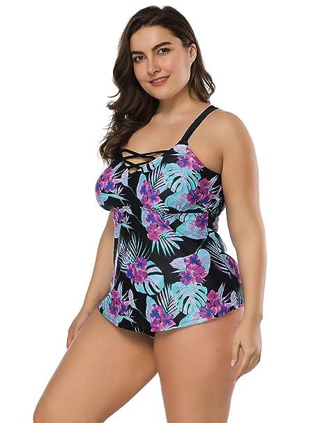 8fb4709799eb Lover-Beauty Conjunto Bikini Mujer Dos Piezas Estampado Falda Verano para  Playa Ropa de Baño Punto Floral Dama Escote V Sin Manga Tirante Talla ...