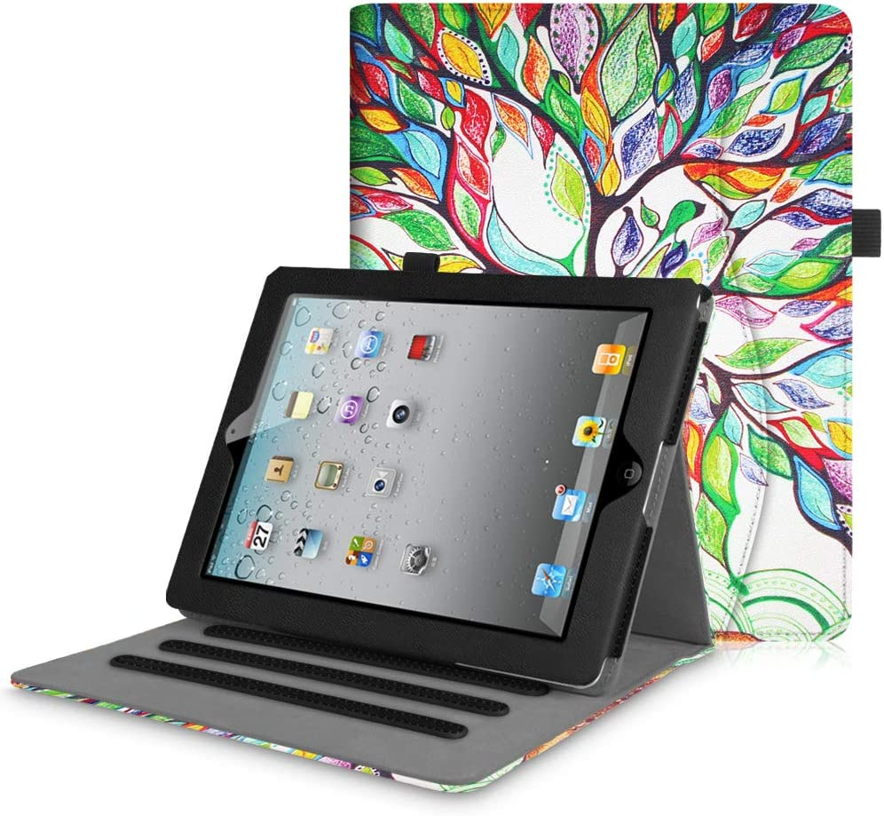 Fintie Case for iPad 4th Generation/iPad 3rd Gen (2012 Model), iPad 2 (2011 Model) 9.7 inch Tablet - [Corner Protection] Multi-Angle Viewing Smart Cover w/Pocket Auto Sleep/Wake, Love Tree