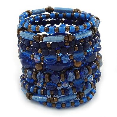 Breit gewickelten Keramik, Acryl, Glas Bead Armband (blau, braun ...