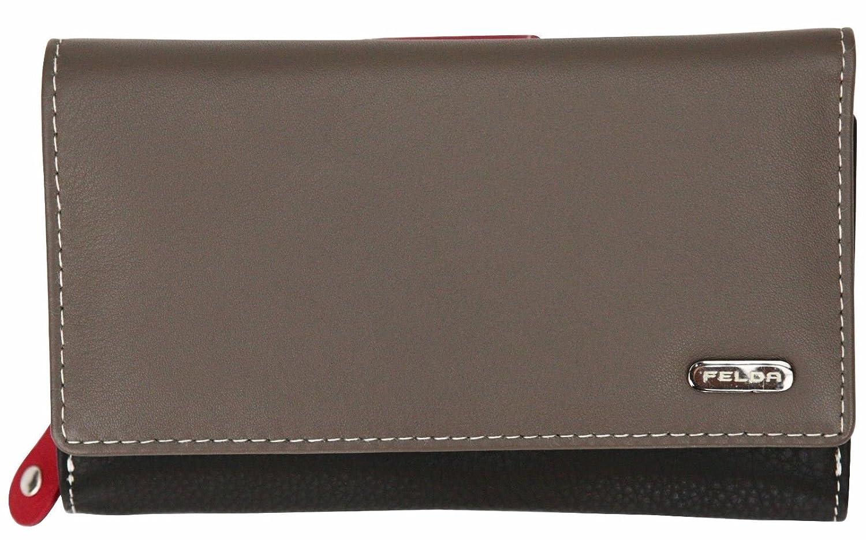 Damen Geldbörse aus Echtleder mit 19 Fächern - RFID-Blocker (Auster Multi)