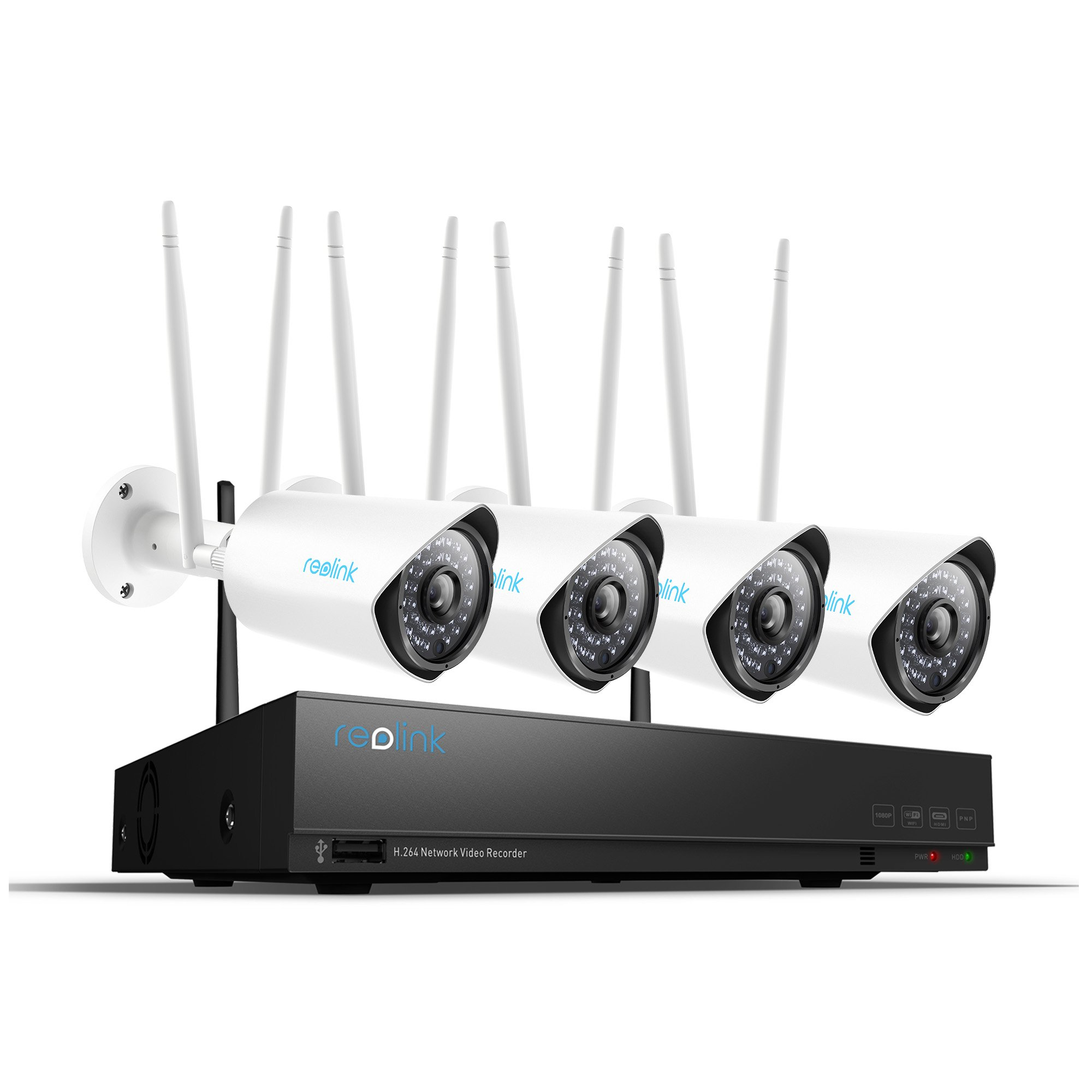 Reolink 1080p Wireless Security Camera System Outdoor HD 4 Channel WiFi NVR Hard Drive Home Business Monitor RLK4-210WB4