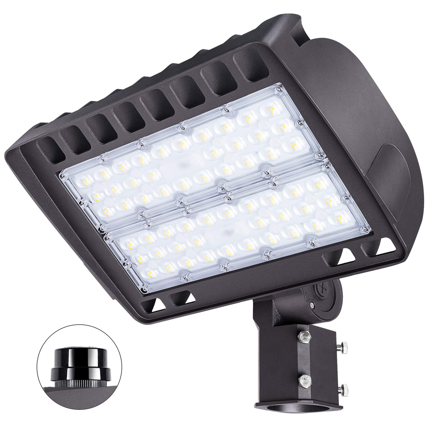 FaithSail 150W LED Parking Lot Lighting Outdoor Shoebox Pole Lights, 19000LM, 5700K, 450W MH/HPS Replacement, Ultra Bright Commercial Area Street Shoe Box Flood Parking Lot Lighting, Slip Fitter Mount