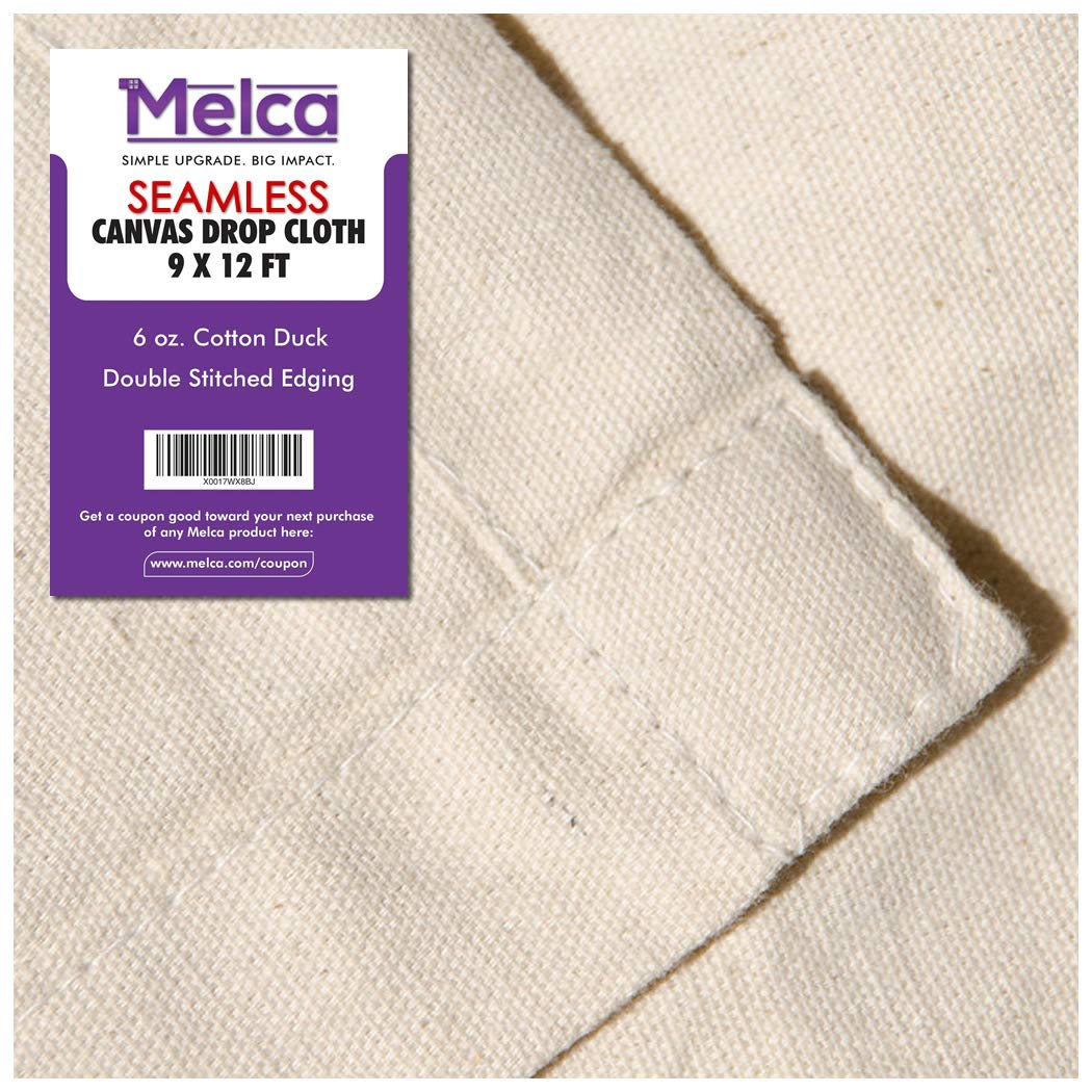 Drop Cloth Tarp Art Supplies - 9x12 Finished Size, Seams Only On The Edges, New Unmarked Fabric, Cotton Duck Fabric - Be Confident You Have The Canvas You Need. Melca 9x12dcloth