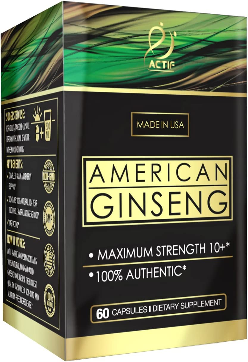 Actif American Ginseng – 100 Authentic 10 Year Old Ginseng, Non-GMO, 500mg – Made in USA