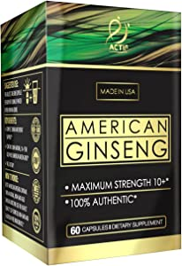 Actif American Ginseng - 100% Authentic 10 Year Old Ginseng, Non-GMO, 500mg - Made in USA