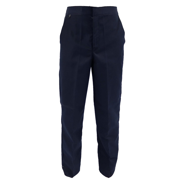 Boys Twill SLIMMER Straight Fit Superior Quality Half Elastic Waist Teflon School Formal Trousers 4-14 years Schoolwear Kids Black Grey Charcoal Navy comfort ease