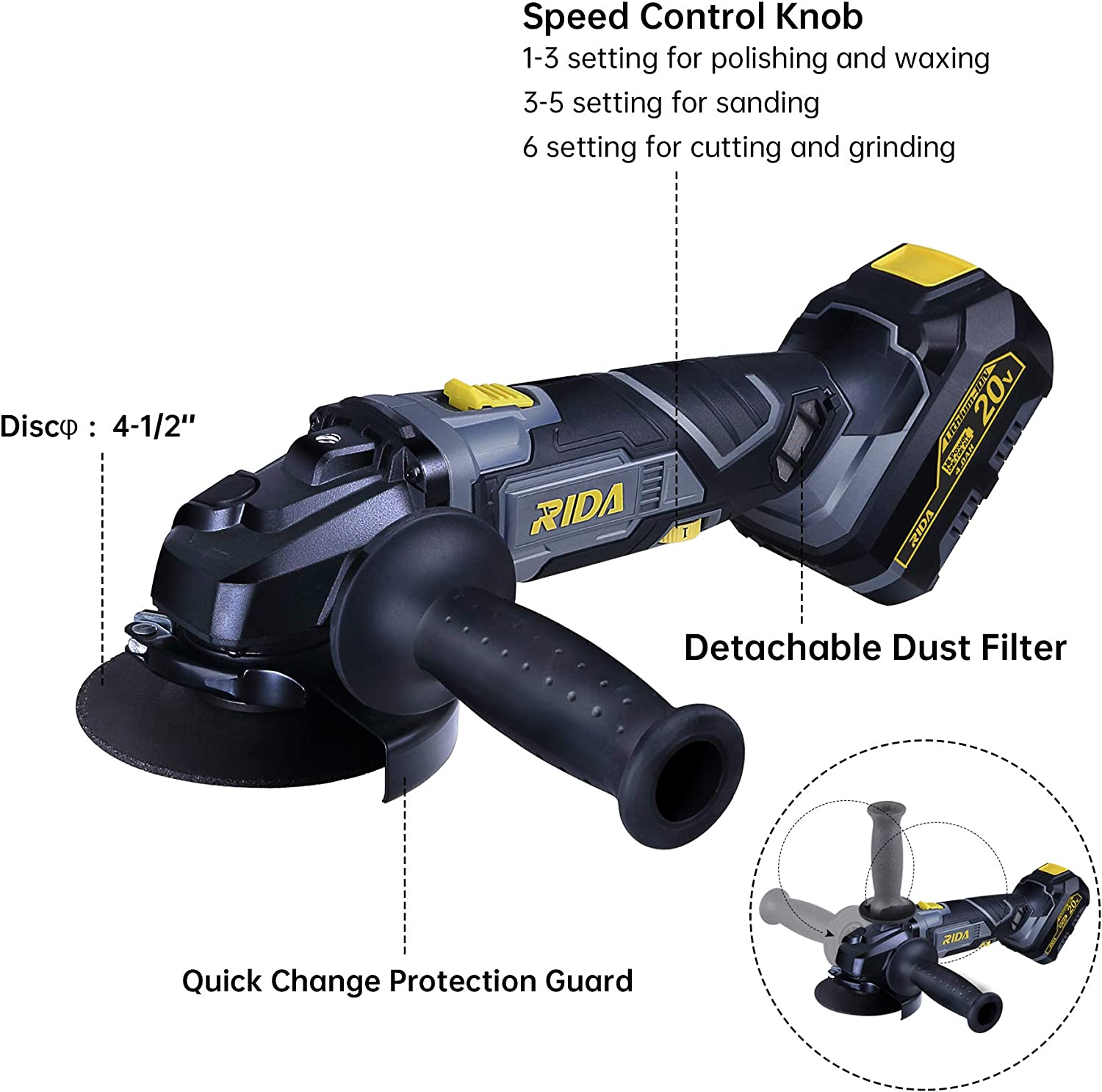 20V 4-1//2 Cut Off Tool 10000RPM Variable Speed RIDA Cordless Angle Grinder Dust Filter 23Pcs Accessories 4.0Ah Lithium-ion Battery and Fast Charger