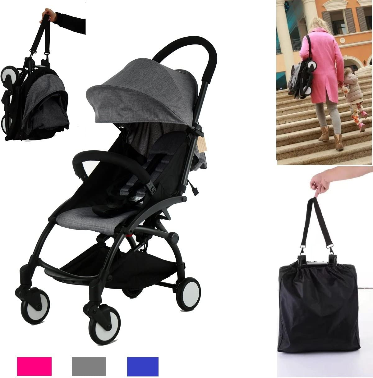 TomiKid Blue Travel Easy Lightweight Pram Buggy Travel Pushchair Stroller Carry Bag eith Rain Cover Recliner Rainer Cover Fits in Small CAR Boots Peugeot 107 /& Fiat 500C Grey