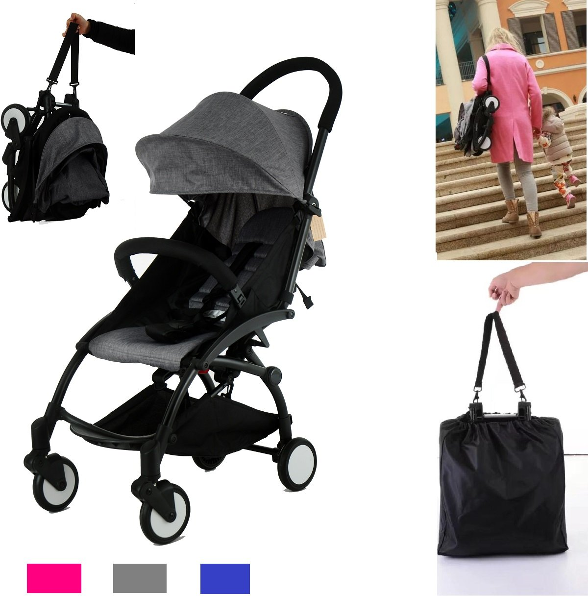 Flykids Travel Easy Lightweight Pram Buggy Travel Pushchair Stroller Carry Bag eith Rain Cover Recliner Rainer Cover Fits in Small CAR Boots Peugeot 107 /& Fiat 500C Light Grey