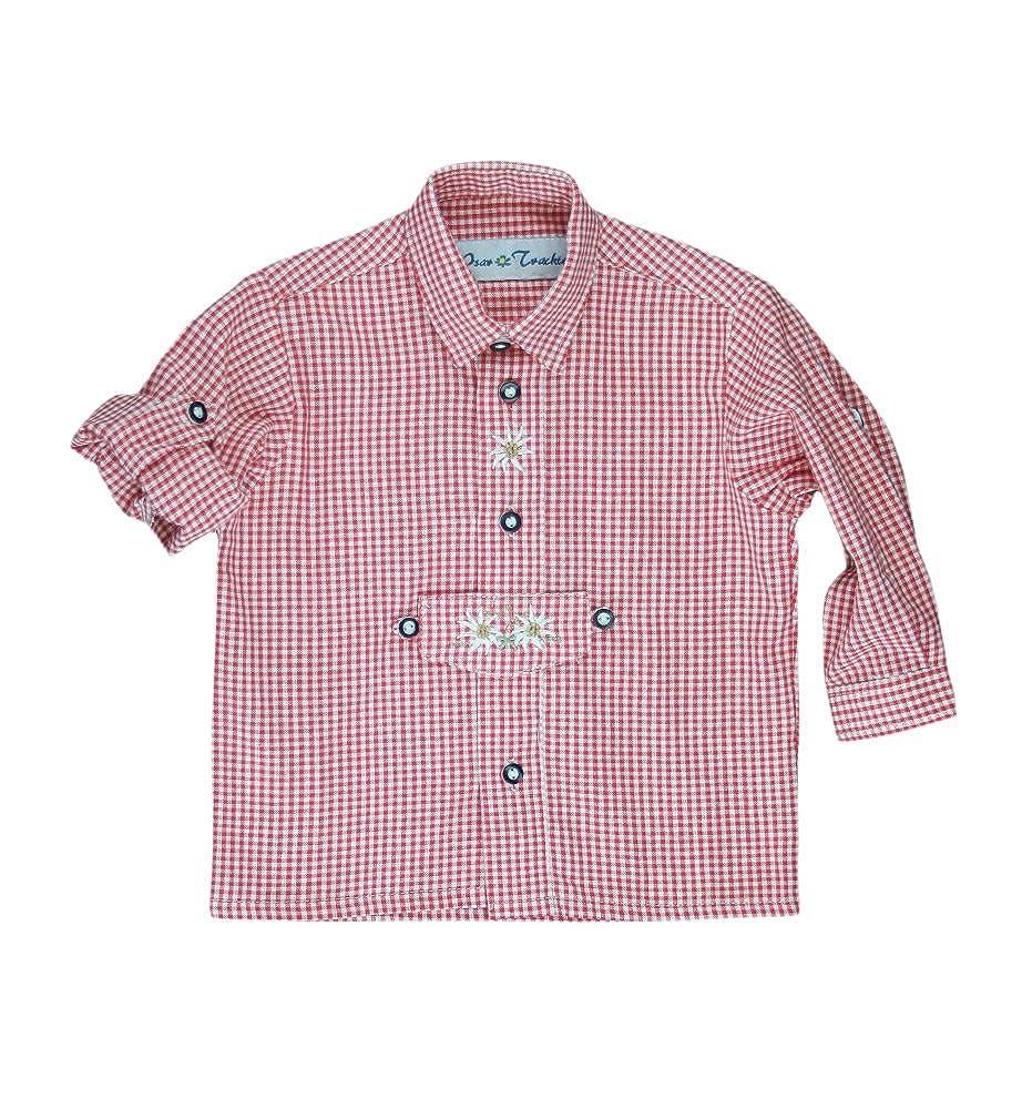 Isar Trachten Trachtenhemd für Kinder, kariert , aus 100% Baumwolle, Krempelärmel , sehr pflegeleicht (Farbe wählbar), Farben:rot; Größen:116 Krempelärmel