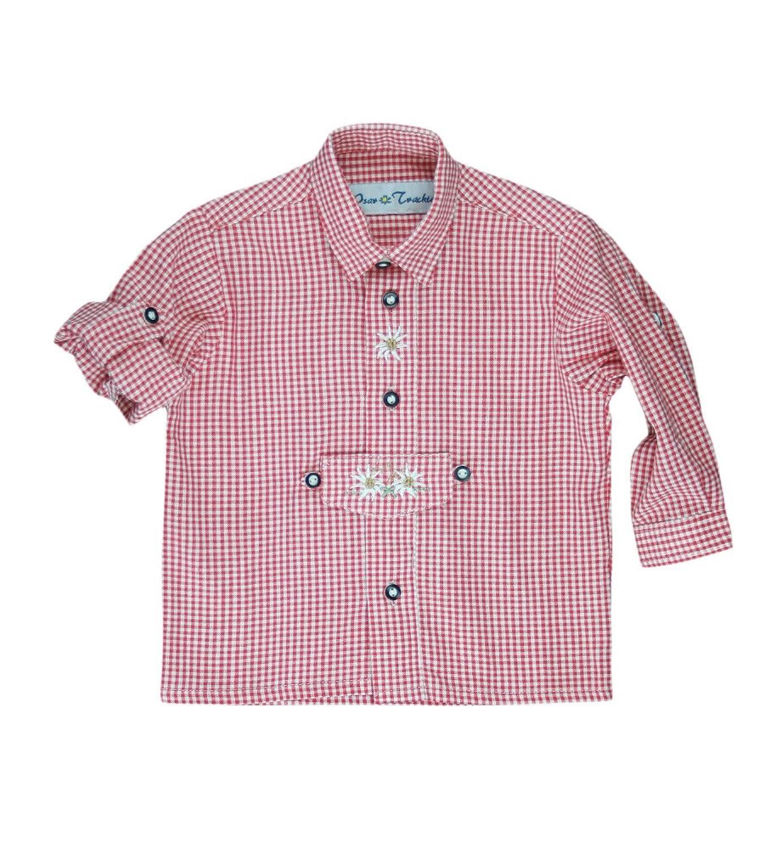 Isar Trachten Trachtenhemd für Kinder, kariert , aus 100% Baumwolle, Krempelärmel , sehr pflegeleicht (Farbe wählbar), Farben:rot;Größen:116