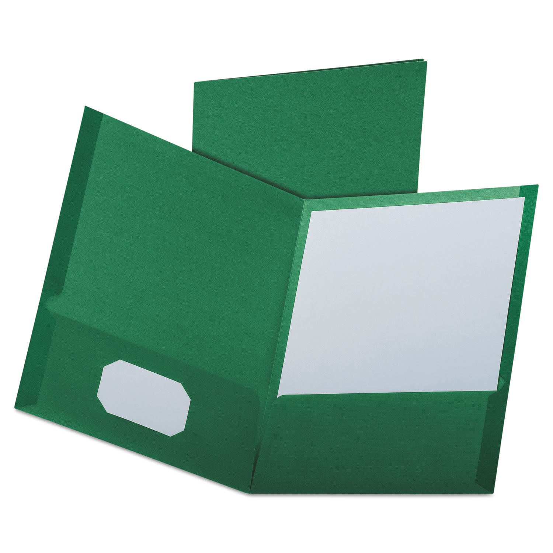 Oxford 53434 Linen Finish Twin Pocket Folders, Letter, Hunter Green,25/Box by Oxford