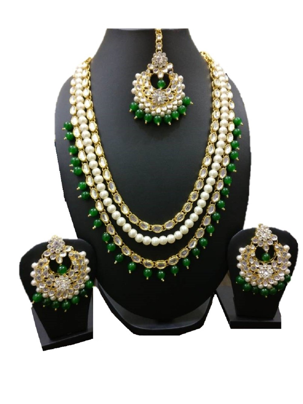 VVS Jewellers Exclusive Indian Bollywood Style Green Pearls Ethnic Kundan Gold Plated Polki Necklace Set by VVS Jewellers