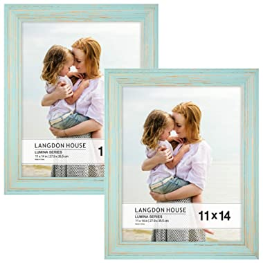 Langdon House 11x14 Real Wood Picture Frames (2 Pack, Eggshell Blue - Gold Accents), Wooden Photo Frame 11 x14, Wall Mount or Table Top, Set of 2 Lumina Collection