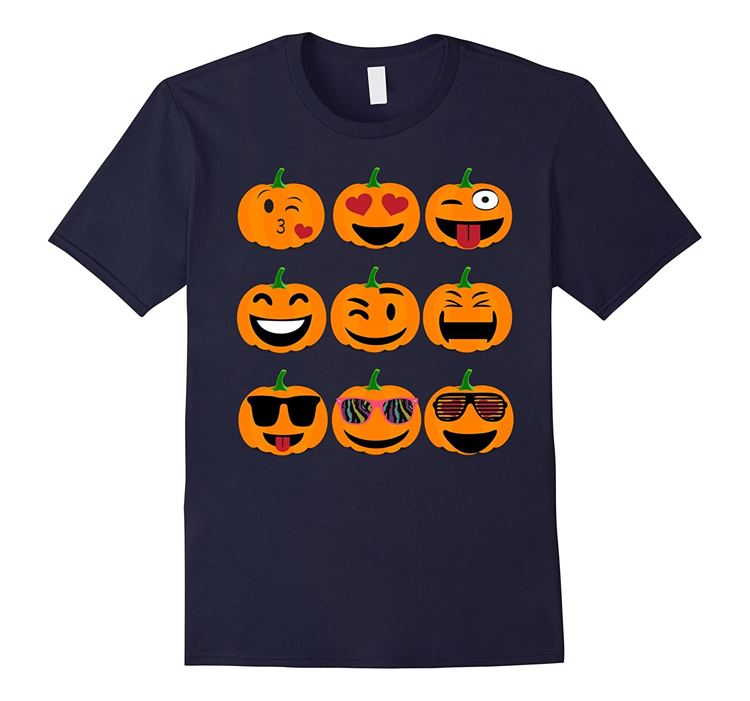 Emoji Pumpkin T shirt Funny Faces Halloween Thanksgiving-azvn