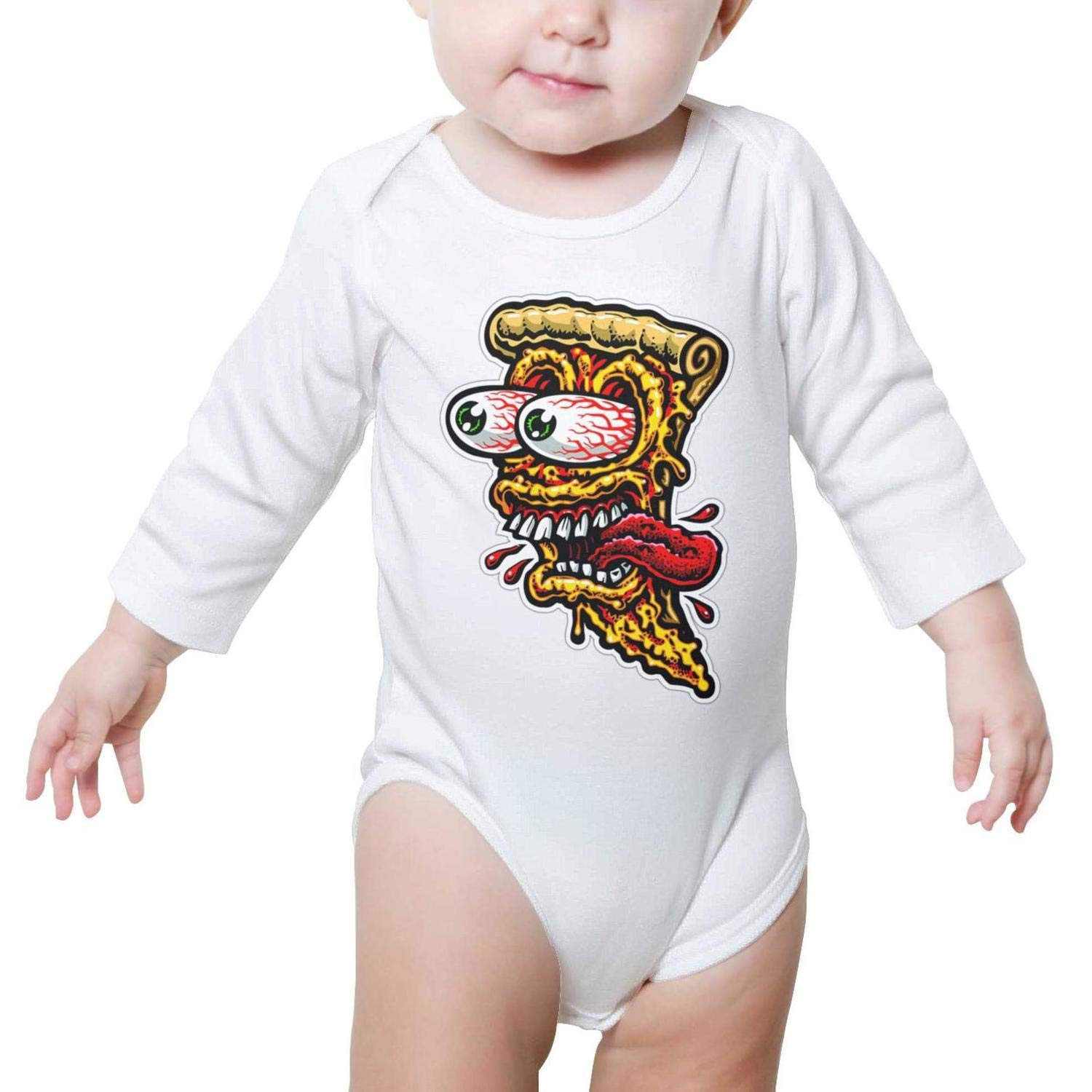 PoPBelle Scared Pizza face Baby Onesies Romper Long Sleeve Jumpsuits Cotton Funny