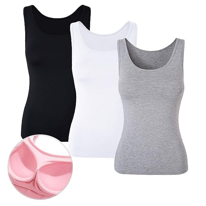 DYLH Camiseta Básica para Mujer con Sujetador Incorporado para IR a Gimnasio Fitness Deportes Yoga Camisetas Mujer Tirantes: Amazon.es: Ropa y accesorios
