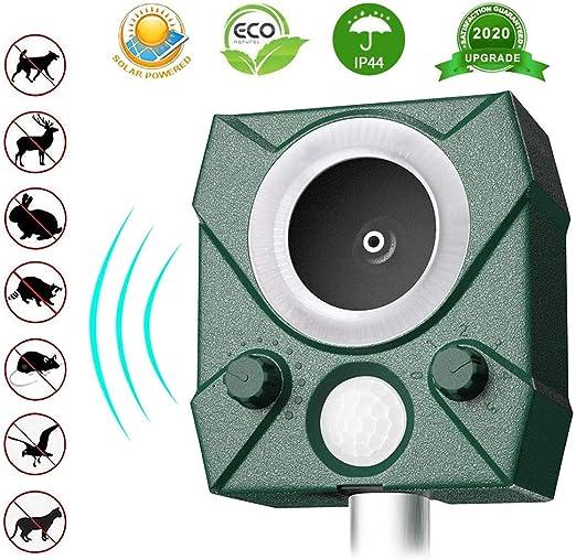BeauFlw Repelente De Gatos, Ahuyentador Repelente Ultrasónico Para Animales, LED, Carga Solar y USB, Exterior, Detector de Gatos, Perros, Ratones: Amazon.es: Jardín