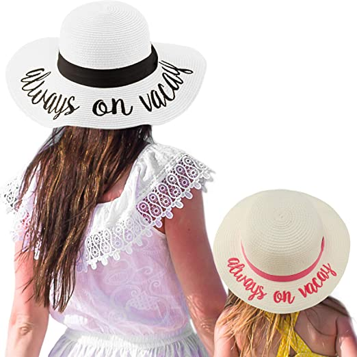 1dd54467319 C.C Womens Mommy and Me Girls Sayings Summer Beach Pool Floppy Dress Sun Hat
