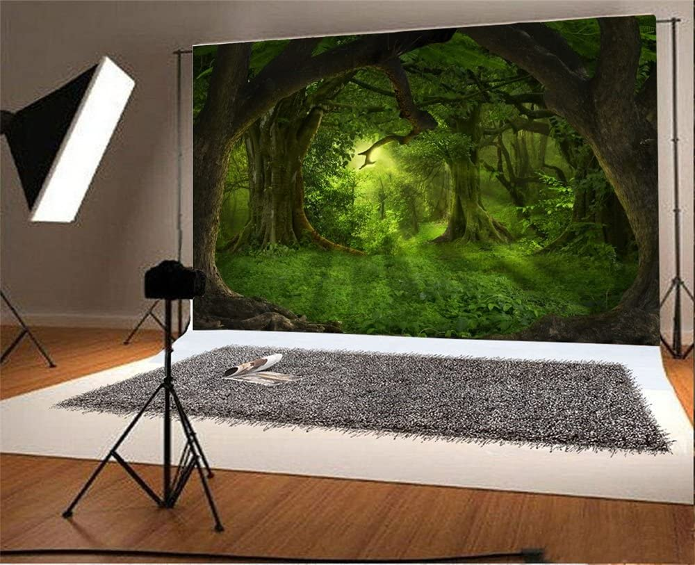 Laeacco 10x6.5ft Vinyl Backdrop Photography Background Deep Tropical Jungles Ancient Trees Mysterious Green Forest Sun's Rays Dreamy Fairytale Children Baby Kids Adults Portraits Backdrop Photo