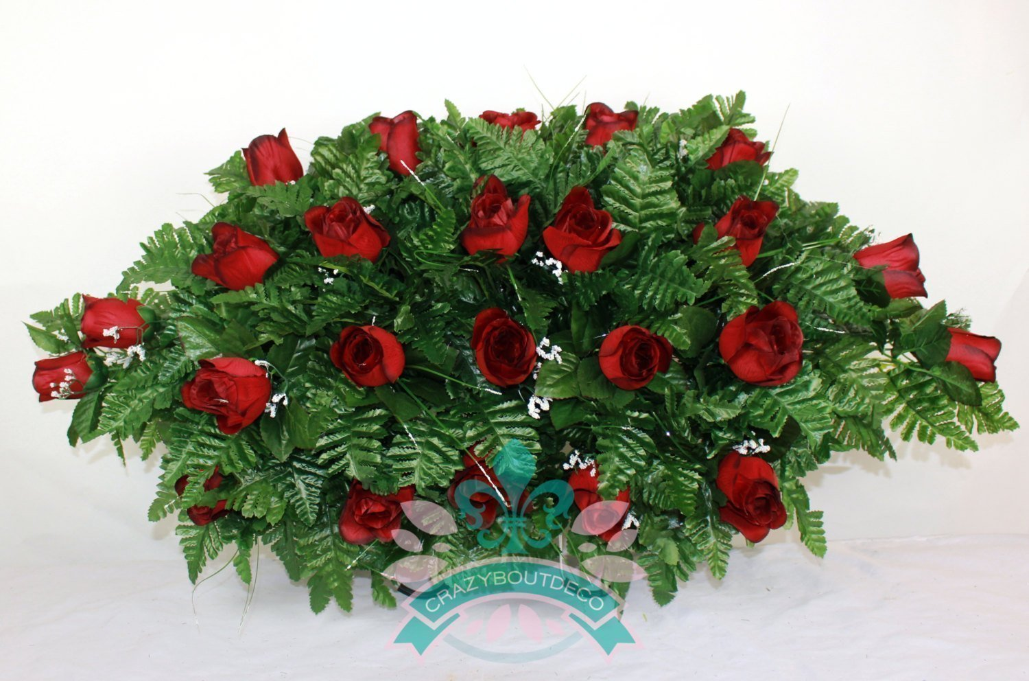 XL Beautiful Classic Red Roses Cemetery Tombstone Saddle