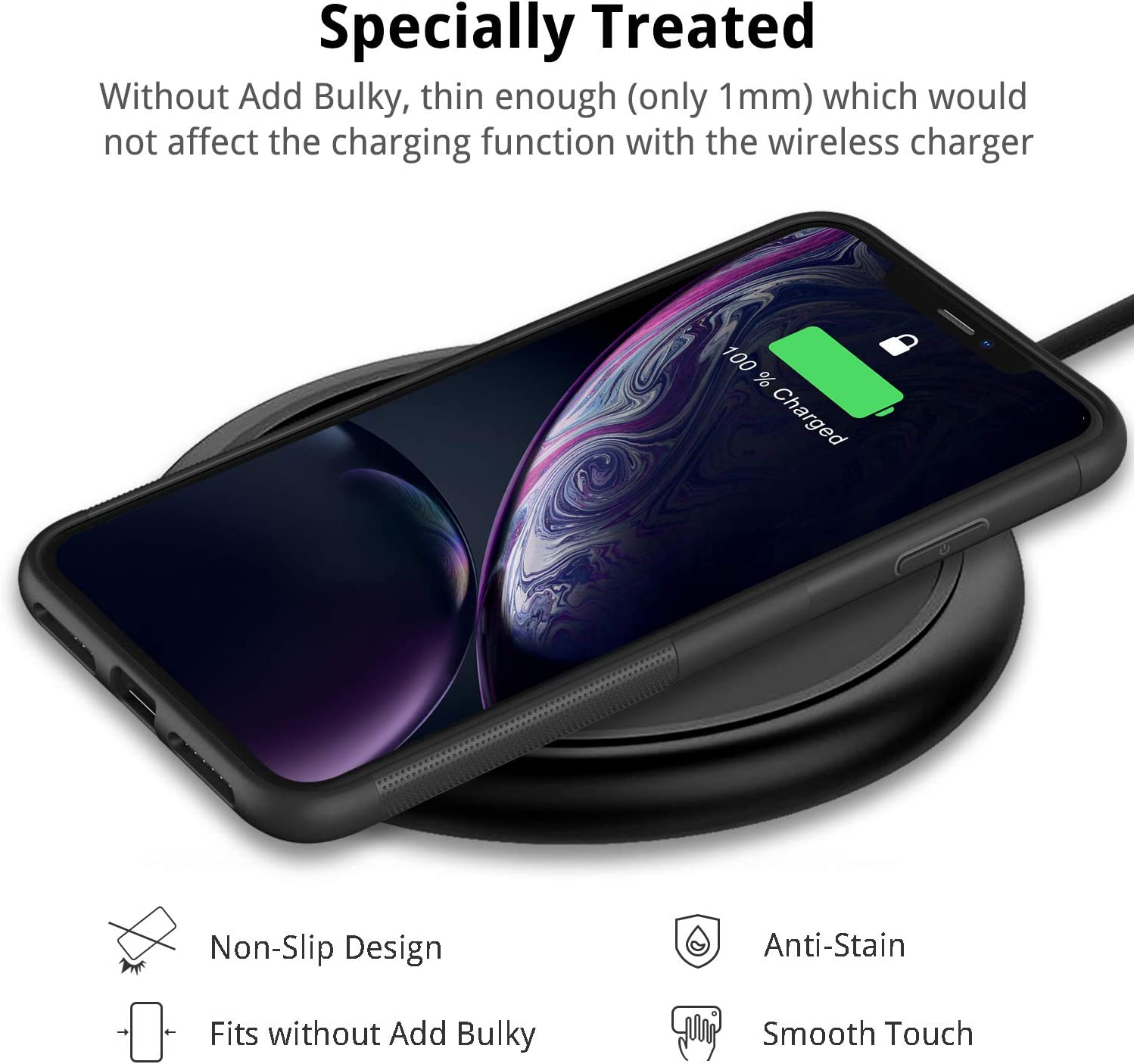 UNBREAKcable iPhone XR Case - Matt Black Soft Matte TPU Ultra Thin Stylish Phone Case Cover for 6.1 iPhone XR Drop Protection