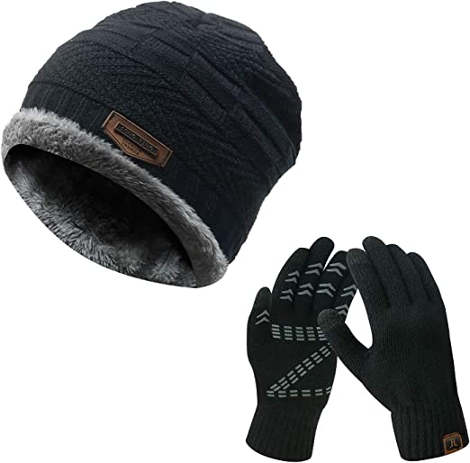 Blue One Size New Balance Gift Set Glove And Mens Headwear Beanie Hat