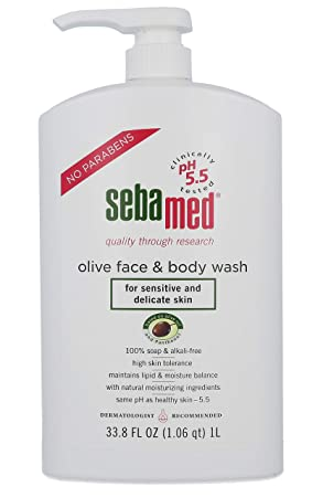 Sebamed Olive Face and Body Wash With Pump for Sensitive and Delicate Skin pH 5.5 Ultra Mild Dermatologist Recommended Cleanser 33.8 Fluid Ounces 1 Liter