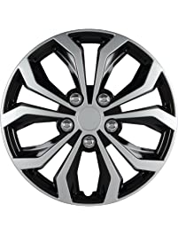 """Pilot Automotive WH553-14S-BS Spyder 14"""" Performance Wheel Cover, Two Tone Black/Silver Finish, (Pack of 4)"""