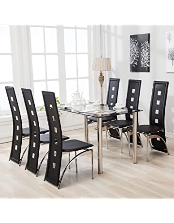bc127c645afa mecor Rectangle Glass Dining Table and High Back Faux Leather Black 4 6  Chairs Sets
