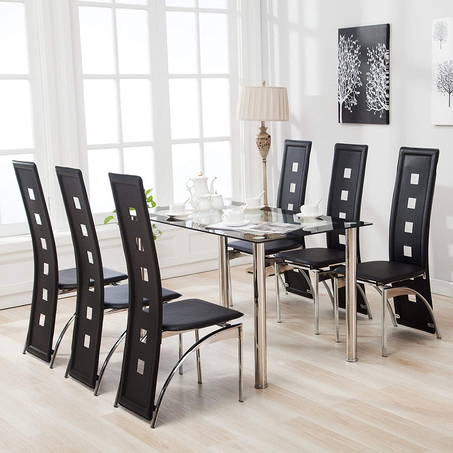 Mecor Glass Dining Table and Chairs Set of 6 and Faux Leather Chairs Dining Kitchen Furniture, Black