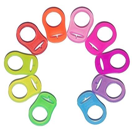 Gosear 10pcs Suave silicona adaptador porta anillos para chupete Colorido