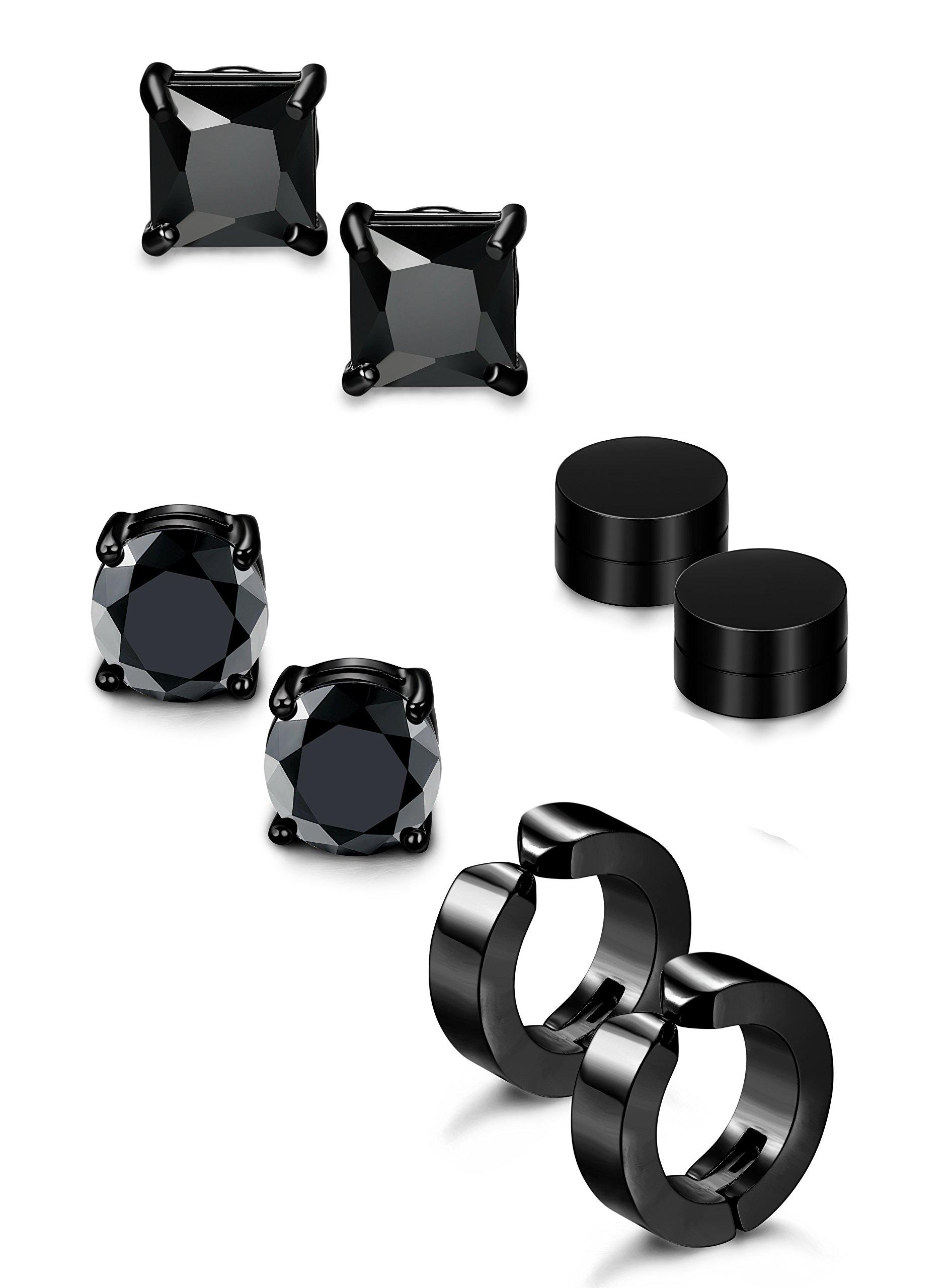 Jstyle 4 Pairs Stainless Steel Stud Earrings for Men Women Magnetic Stud Earrings Non-piercing CZ 5mm B