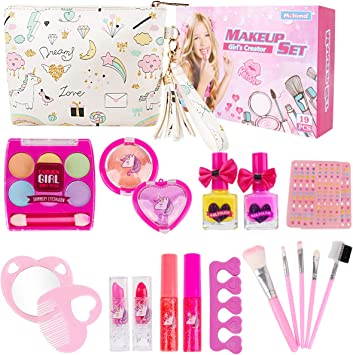 Kids Makeup Set for Girls 19PCS Real Washable Cosmetics Kit Children Play Make Up with Glitter Cosmetic Bag, Nail Polish, Birthday Gift