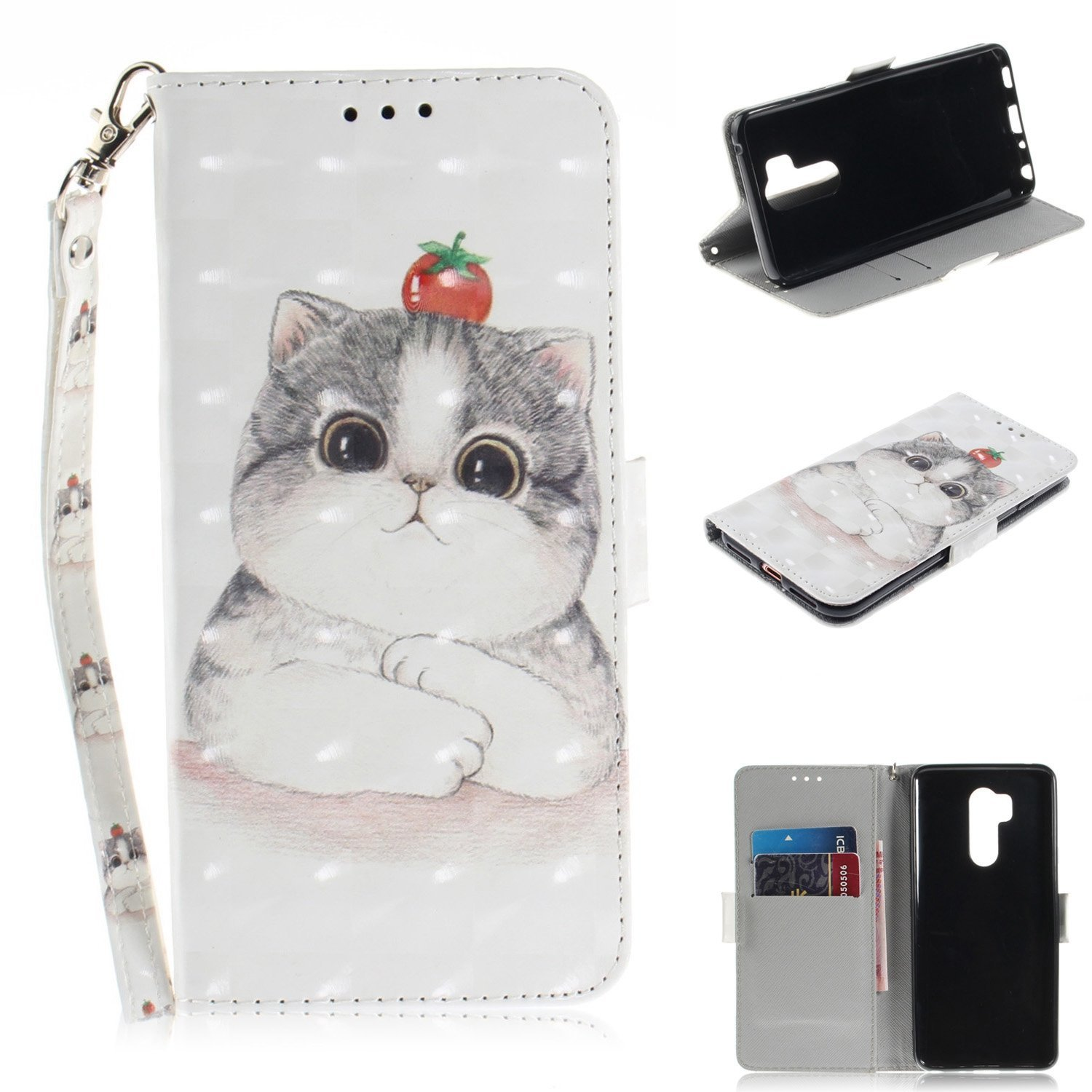 Flip Wallet Case for LG G7 with Hand Strap, Gostyle LG G7 ThinQ PU Leather Case Cute Cat Pattern, Bookstyle with Card Slots Magnetic Closure Stand Cover