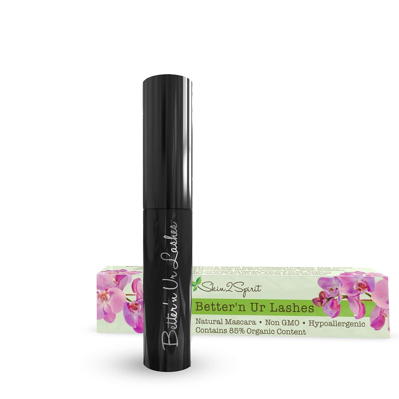 Better'n Ur Lashes Organic Mascara (BLACK) | 100% Natural | Made w Certified Organic Ingredients | Non GMO | Hypoallergenic for Sensitive Eyes | Length & Volume | Vegan | Cruelty Free | Gluten Free
