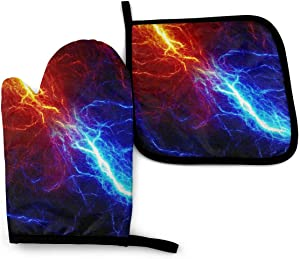 AUISS Oven Mitts Potholders Red Blue Lightning Pot Holders Heat Resistant Kitchen Gloves BBQ Cooking Baking Grilling Barbecue Microwave Thicken Pads