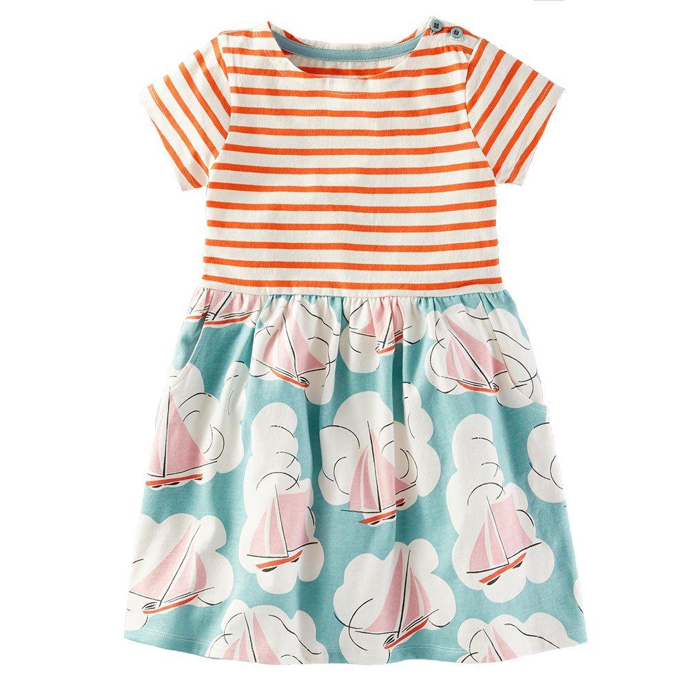 Vicky Piggy Little Girls Dress,Formal Dresses Summer Short/Long Sleeve Cotton Casual Dress (5T, Striped Flower) by Vicky Piggy (Image #1)