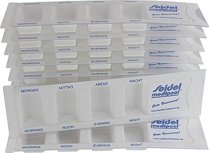 10 Dispensador de medicamentos para 1 Día m. 4 Compartimentos, Caja pastillas, Caja