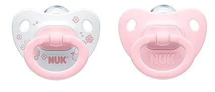 Nuk Classic - Pack de 2 chupetes fisiológicos de silicona T1, color rosa