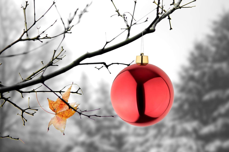 8 Palle di Natale grandi rosso lucido diametro 25 cm Con gancio e nastro dorato. Alta qualit/à per interni e resistente alle intemperie allaperto