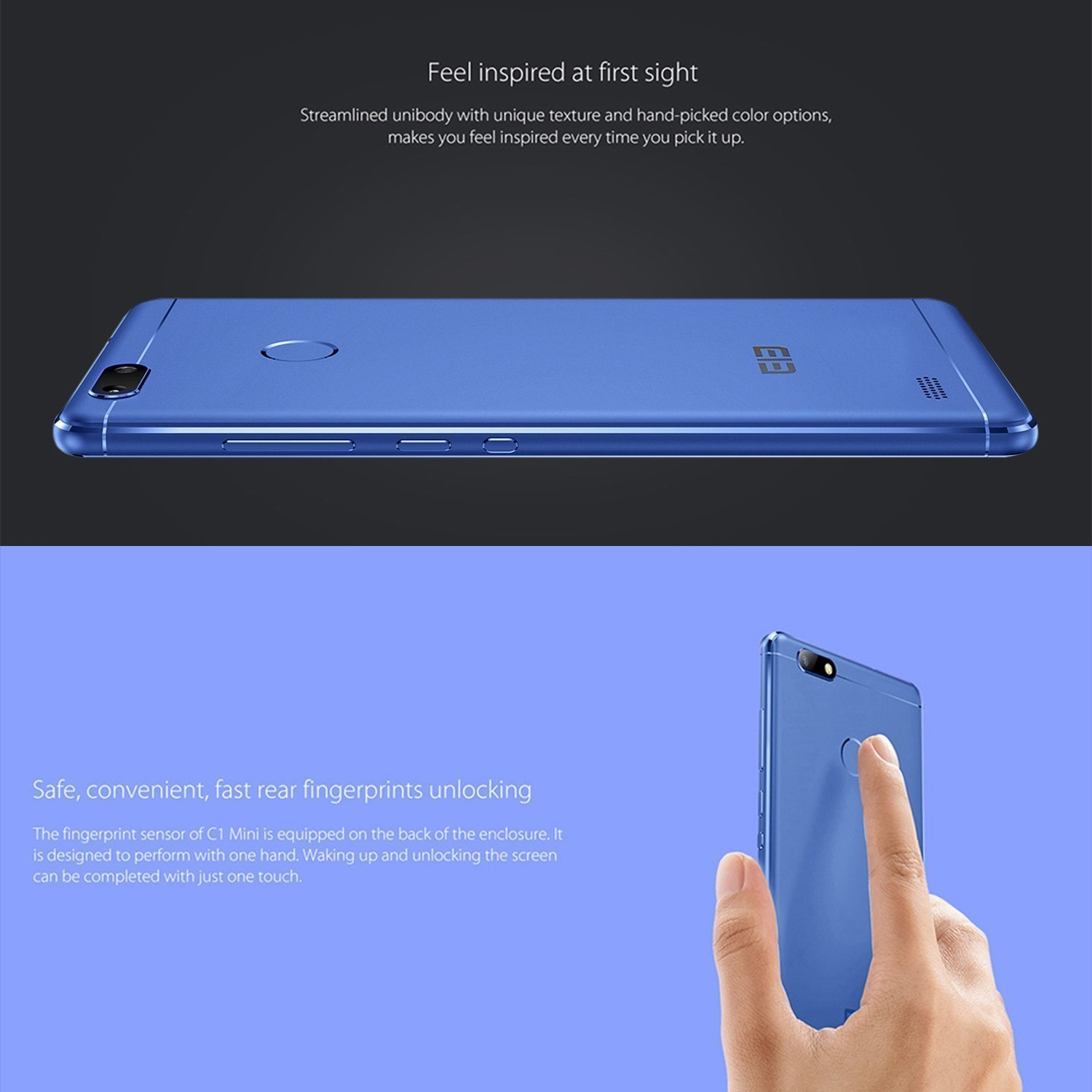 Elephone C1 Mini Migvela Smartphone Android 6.0 4G LTE Quad-Core 5 Inch 1280*720 pixel HD Mobile,1GB RAM 16GB ROM Dual Cameras Dual SIM with Fingerprint(Blue)