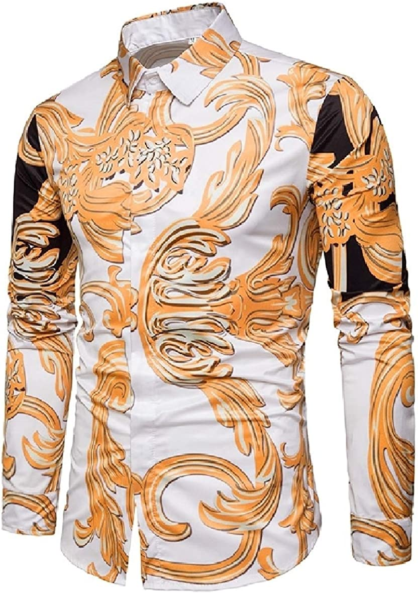 RDHOPE-Men Long Sleeve Relaxed Floral Turn-Down Collar Western Shirt