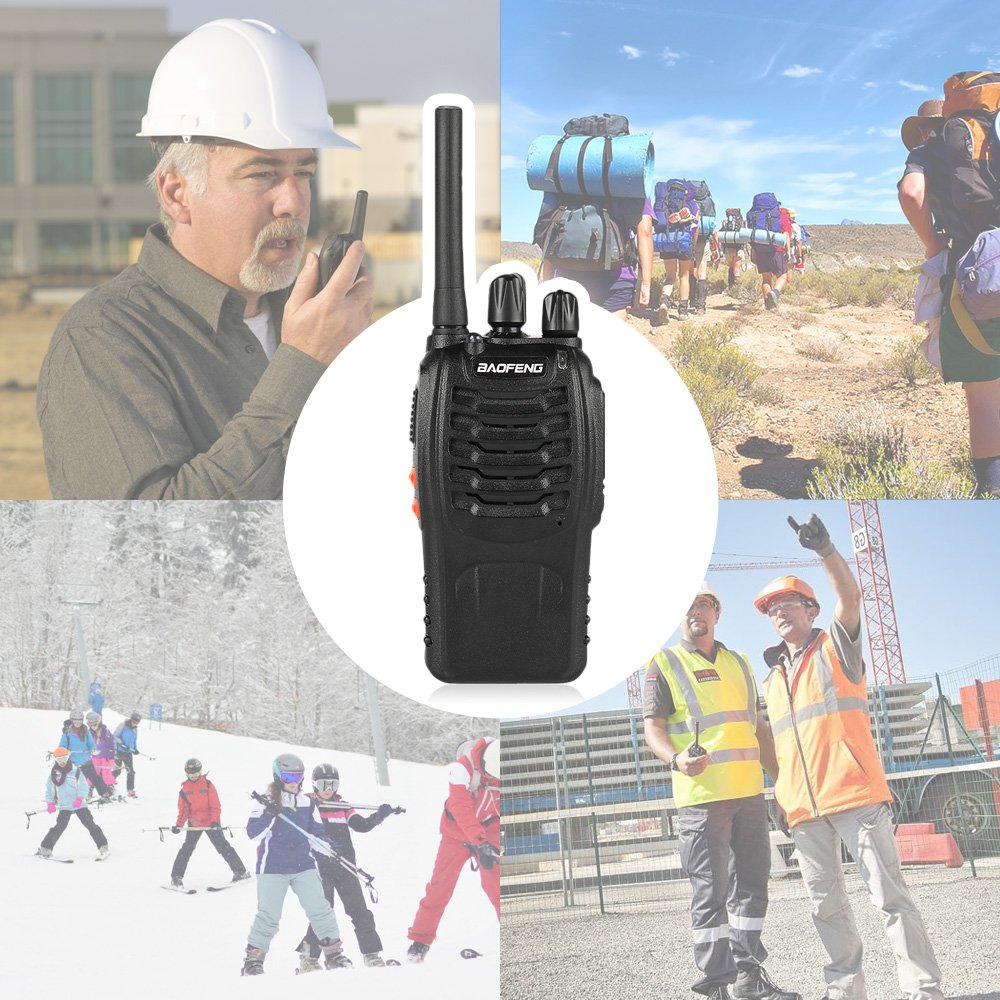 FRS Rechargeable Two Way Radio VOX with USB Charging LED Flashlight 2 Pack BAOFENG BF-88A Walkie Talkie with Earpiece Upgrade Version BF-888S