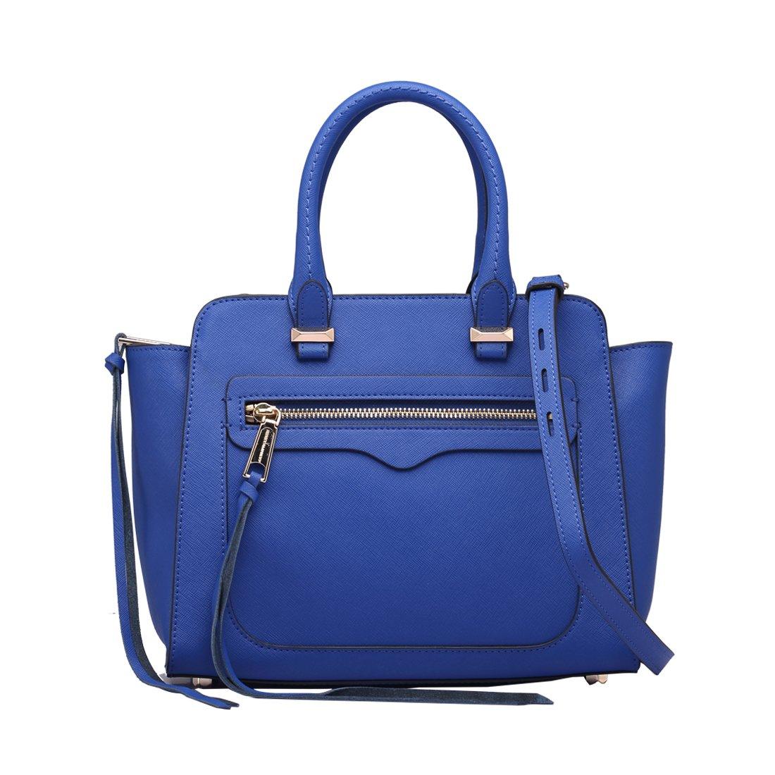 Women Love Mini Top Handle Leather Handbag Front Pocket Designer Purse Bag with Crossbody Strap (Blue)
