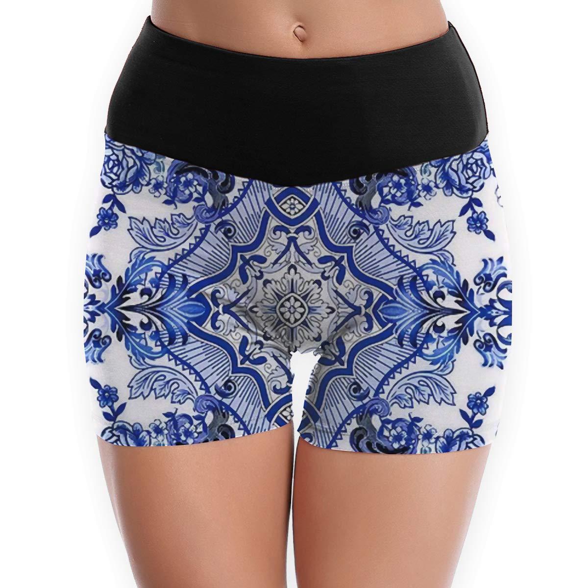 NBXIXI Chinese Blue and White Flowers Graphic High Waist Yoga Shorts for Women Girls Tummy Control Capri