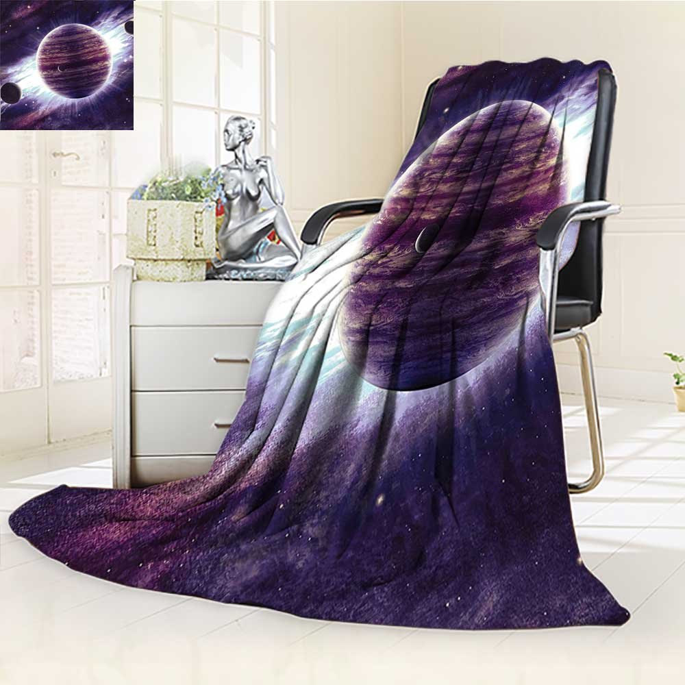 YOYI-HOME Cotton Thermal Duplex Printed Blanket,Theme Planets Saturn Mars and Neptune Science Fiction Solar Scene Artprint Mauve Purple Soft and Breathable Cotton/W47 x H31.5