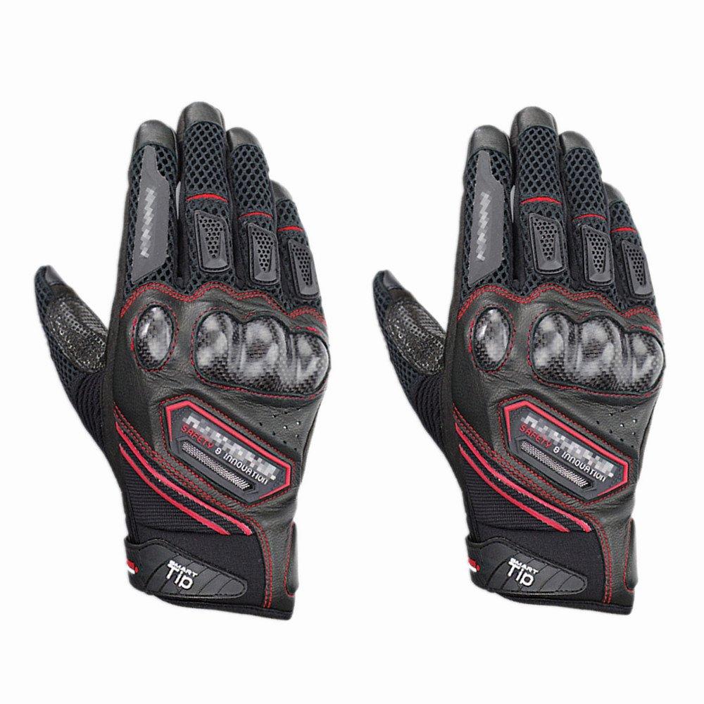 Baoffs Motorrad-Fahrradhandschuhe Schutz Motorrad Handschuhe Radfahren Mountainbike Männer Frauen Handschuhe für Radfahren Klettern im Freien (Farbe   Rot, Größe   XL)