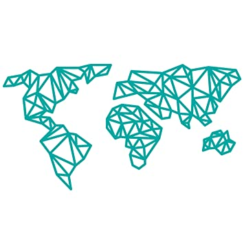 WANDKINGS Wandtattoo U0026quot;Origami Style Weltkarteu0026quot; 70 X 37 Cm   Türkis